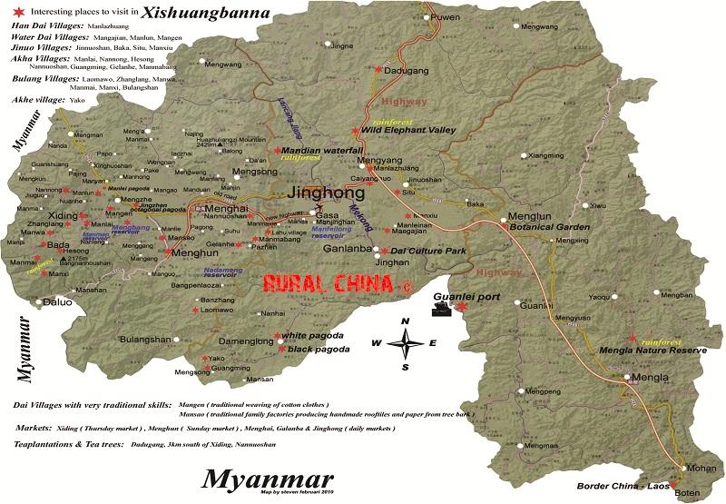Xishuang Banna Regional Map
