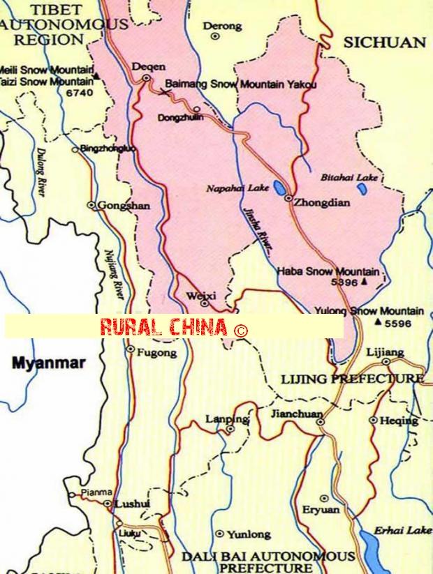 Zhongdian Map